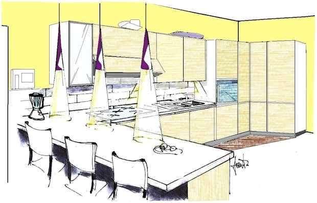 Cucina angolare con bancone: disegno di progetto