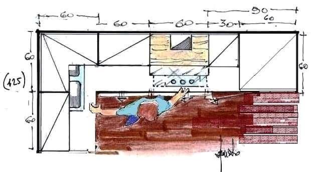 Cucina angolare piccola: pianta di progetto