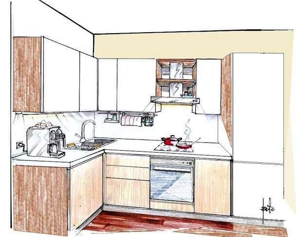 Cucina angolare piccola: disegno di progetto