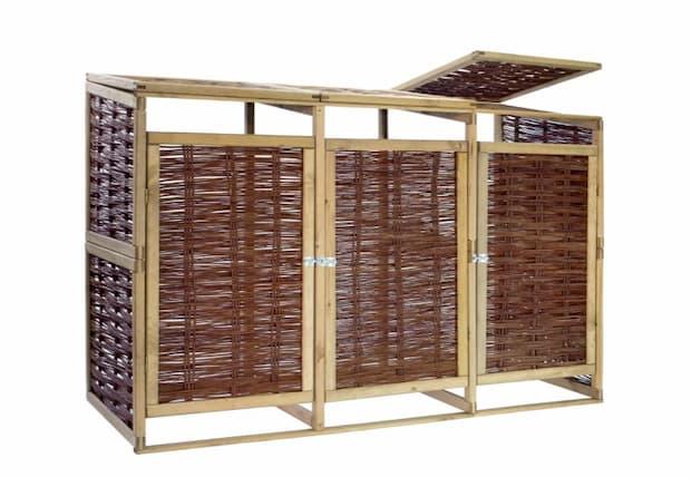 Copribidoni per nascondere cassonetti spazzatura differenziata in legno e vimini di VidaXL