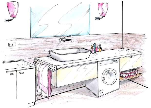 Mobile bagno con lavabo altezza personalizzata