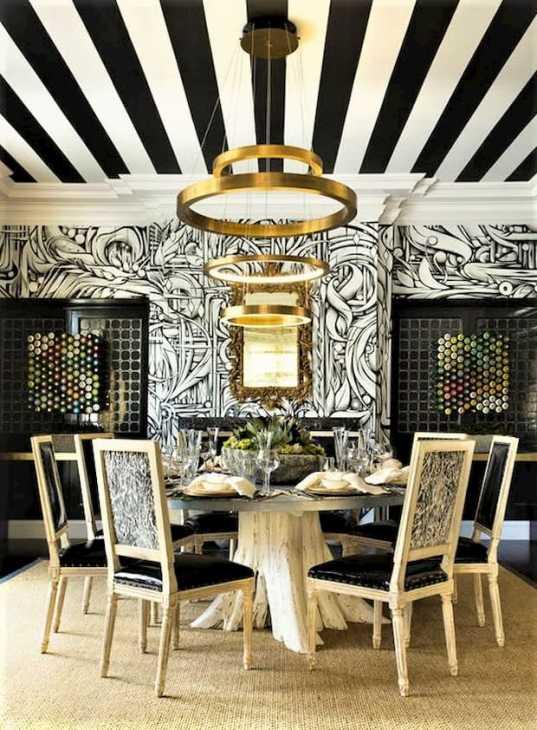 Soffitto sala da pranzo carta da parati righe bianche e nere by Cartilla
