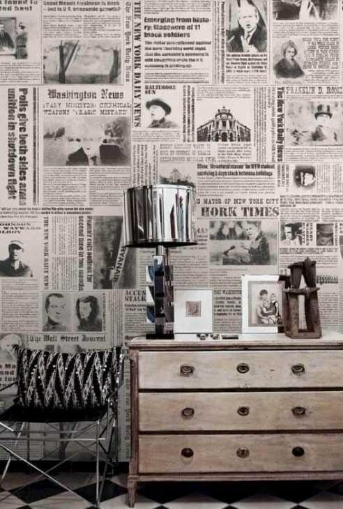 Decoupage sul muro di un living, foto by selbermachen.de