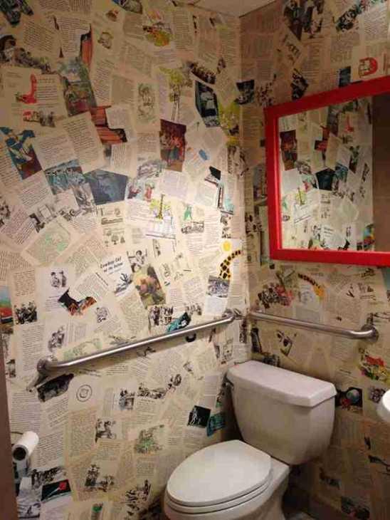 Decoupage su muro in bagno, foto by thrillist.com