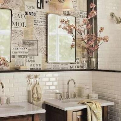 Decoupage su muro del bagno, by bobvila.com