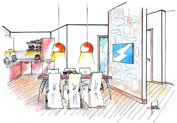 Zona pranzo e angolo cottura: disegno di progetto