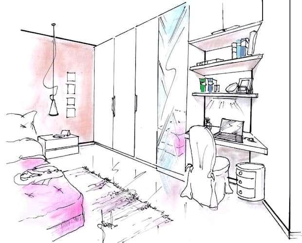 Arredo camera letto con armadio e zona scrittoio