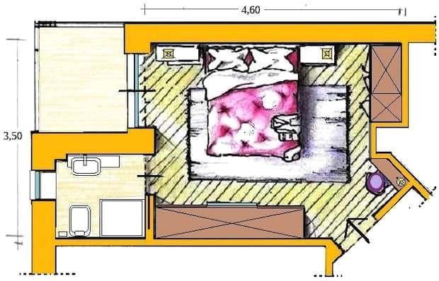 Disposizione arredi camera letto: pianta di progetto