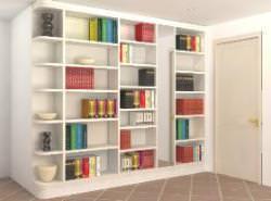 Rendering libreria da realizzare sul muretto contenente lo scarico