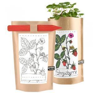 Il Garden in a Bag nella versione per bambini, con matita per colorare l'immagine sul sacchetto