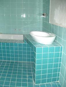 immagine del bagno in fase di realizzazione