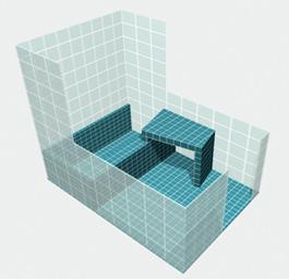 vista tridimensionale del bagno
