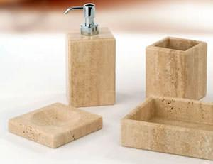 Marmores: Set accessori bagno in Travertino naturale