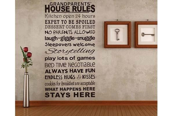 Sticker decorativo da muro: Grandparents' House Rules