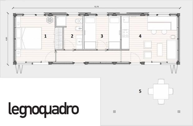 Casa modulare in legno, particolare in pianta Legnoquadro