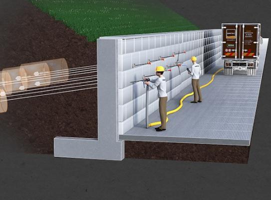 Intervento di ancoraggio e consolidamento muro di sostegno tecnologia uretek