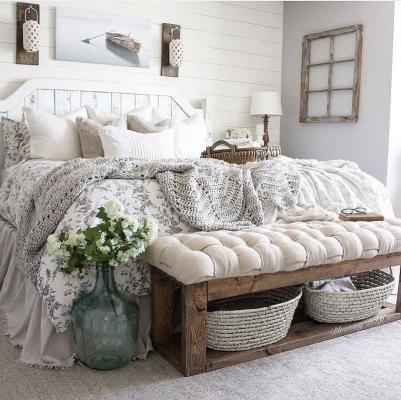 Camera da letto casa campagna, da startathomedecor.com