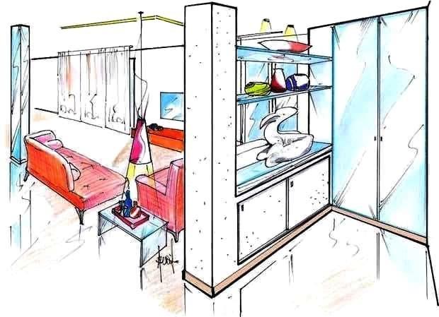 Ampliamento casa: disegno di progetto salone-ingresso
