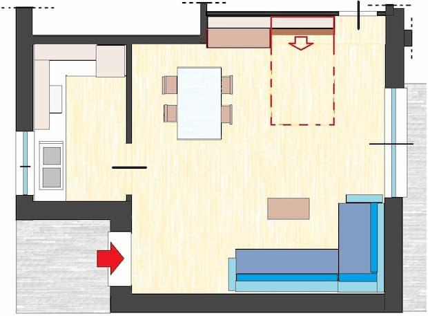Mobile letto per ospiti nel living: pianta di progetto