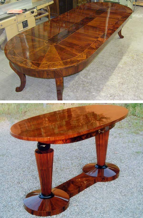 Due tavoli antichi restaurati da Restauro Art