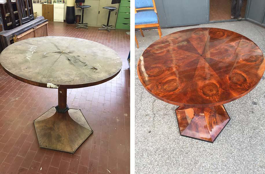 Tavolo antico restaurato da Restauro Art
