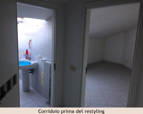 Corridoio in mansarda prima