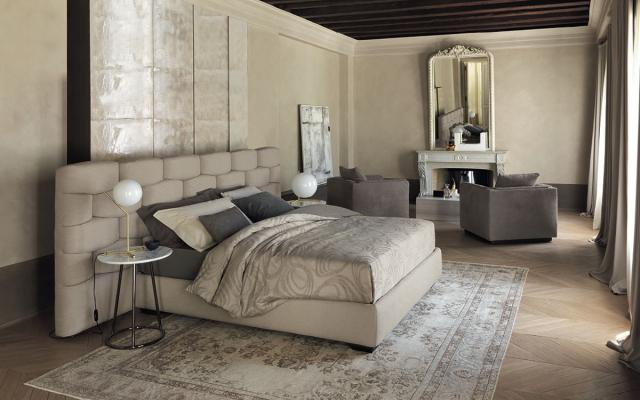 Letto moderno Majal, colore beige - Foto by Flou