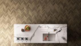 Cucine moderne con isola in gres porcellanato