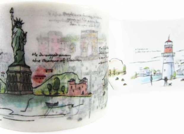 Washi tape store, tema città ad acquerello