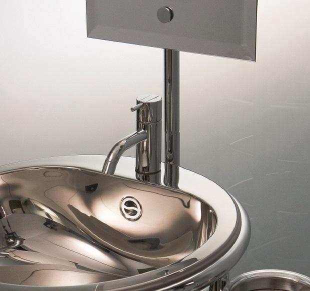 Lavabo completo inox per bagni piccoli: Lola Herzburg di Rapsel