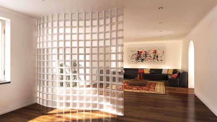 Tramezzo curvo di vetrocemento trasparente, by Seves Glassblock