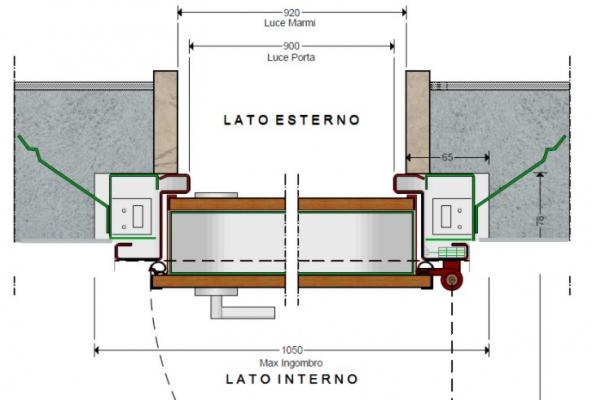 Modifica  porta blindata: schema tecnico di posa