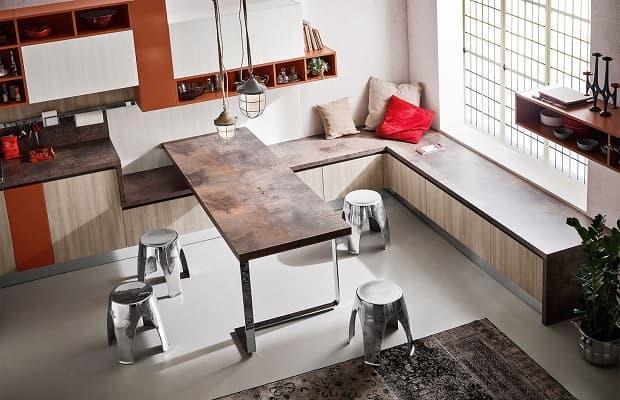 Cucina bianca e legno Diotti alto