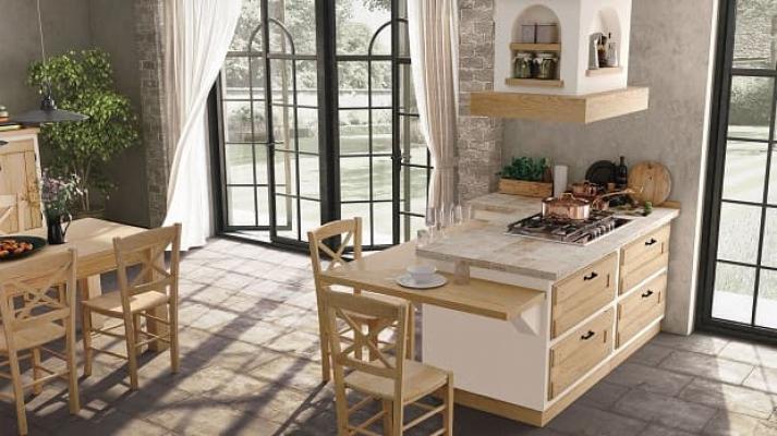 Cucina bianca e legno Anita di Lube alto