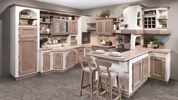 Cucina bianca e legno chiaro Luisa di Lube
