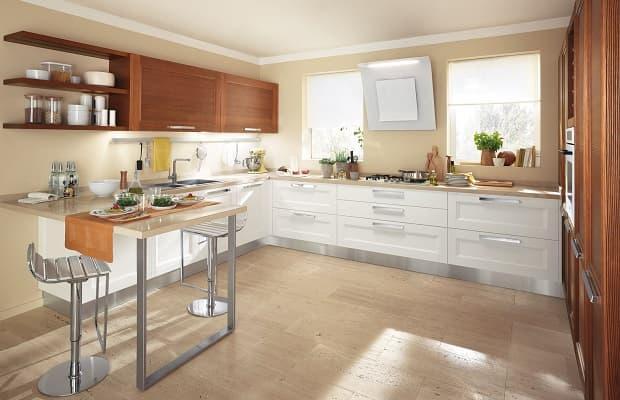 Foto Cucina Bianca E Legno