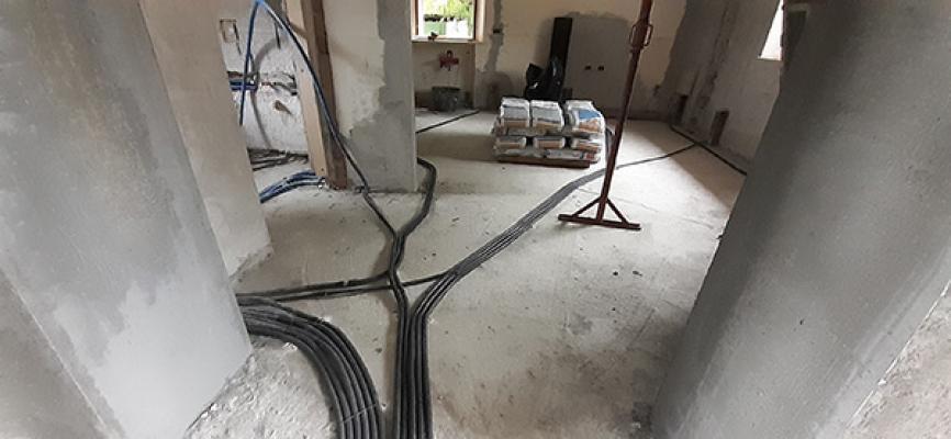 Impianto elettrico fase di realizzazione in cantiere