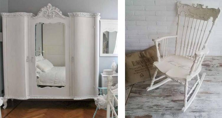 Camerette stile shabby - VintagePaint - armadio e dondolo con stencil