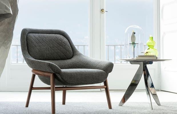Salotto moderno poltrona Hanna grigio di BertO
