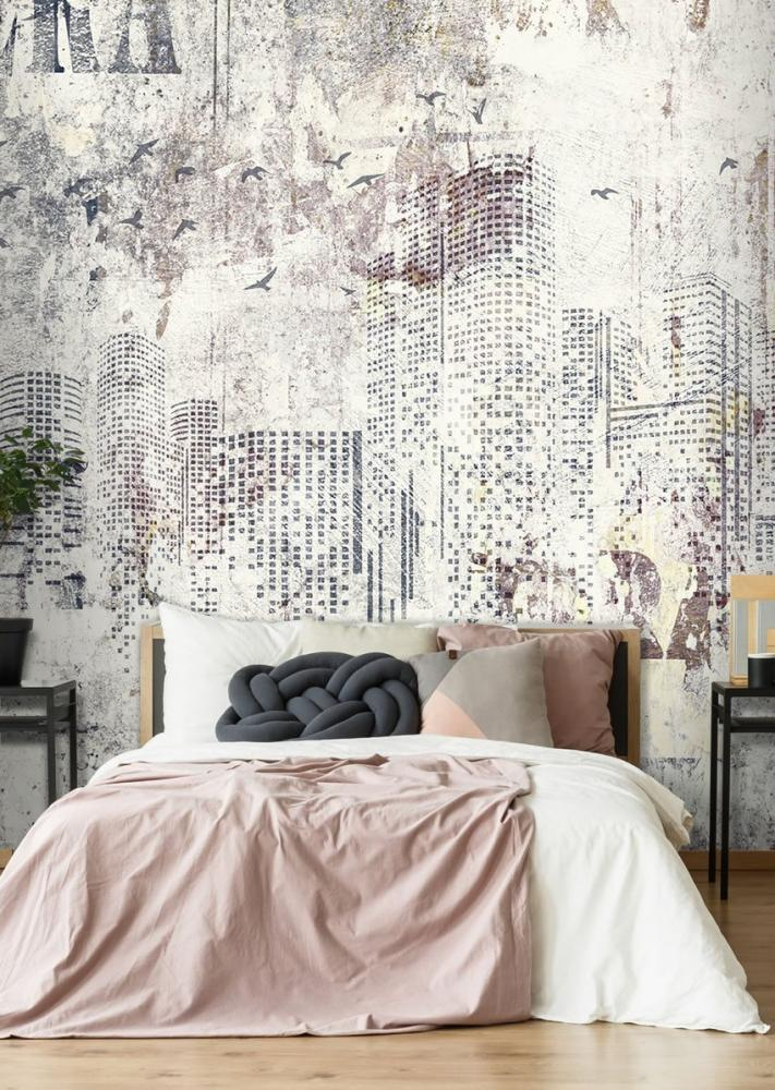 Pareti camera da letto con carta da parati, Carta da parati Artistica, linea Vita metropolitana