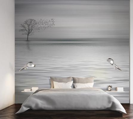 Pareti camera da letto con carta da parati, Carta da parati Artistica, linea Mare e cielo