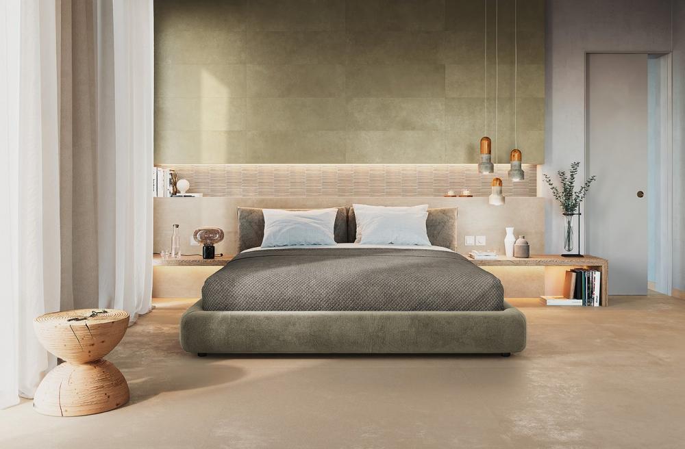 Pareti camera da letto rivestite con piastrelle in ceramica, FAP Ceramiche, collezione SUMMER