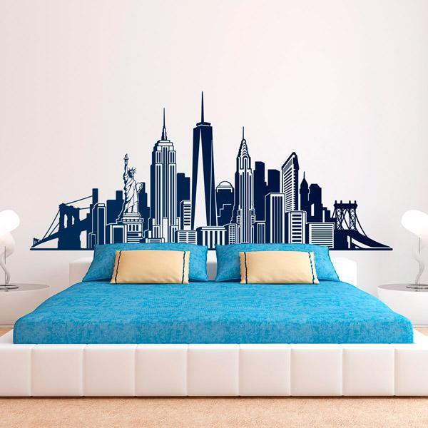 Pareti camera da letto con adesivi murali, Stickers MURALI, composizione Skyline New York