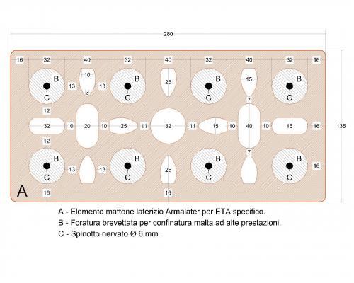 Schema dei mattoni semipieni del Muro Almalater di Latercompound