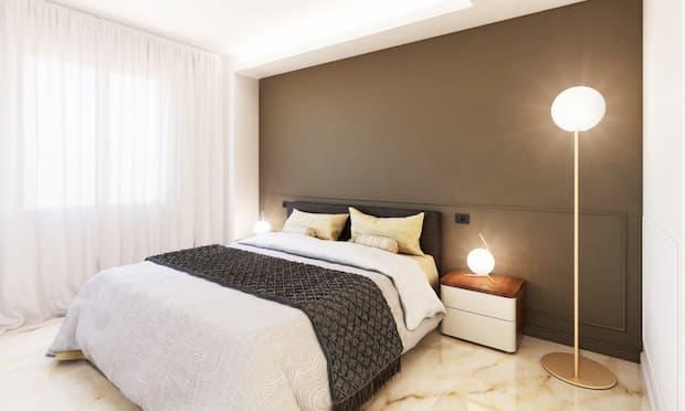 Parete camera da letto realizzata con la pittura lavabile Alphamat di Sikkens