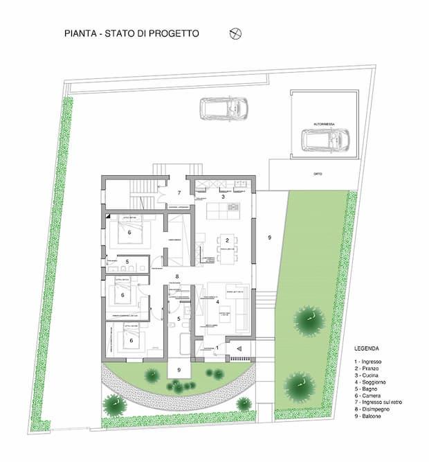 Ridistribuzione degli spazi interni - progetto di un Villino