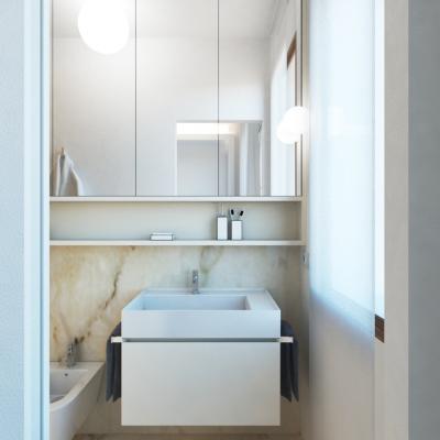 Ingresso al bagno tramite porta scorrevole scrigno mod. essential
