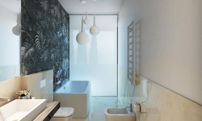 Grande vetrata anche in bagno per portare tanta luce naturale
