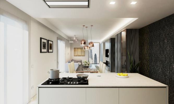 Cucinare guardando lo spazio living migliora la convivialità