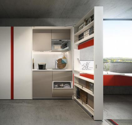 Cucina piccola a scomparsa, Clei, Kitchen Box